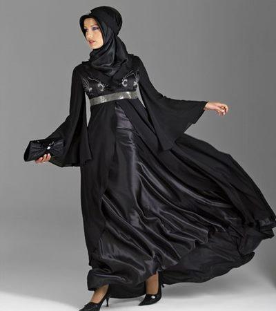 Türbanlı Siyah Abiye Elbiseler