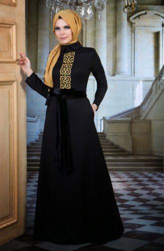 siyah-tesettür-abiye-elbise-modelleri