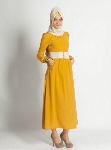 2016 hardal sarısı elbise