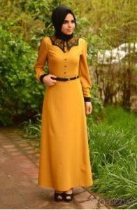 hardal-sarısı-uzun-elbise